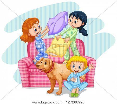 Three girls playing pillow fight on sofa illustration