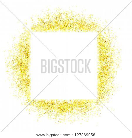 gold sparkles and flashes with a white square