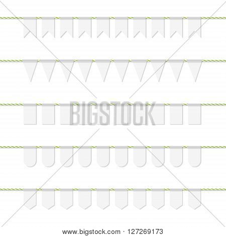 Collection of white bunting banners on yellow green bakers twine
