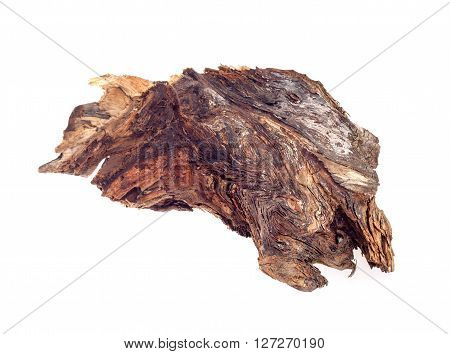 piece of wood, snag on a white background