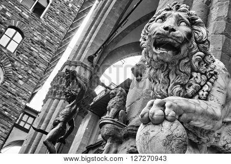 Lion At Loggia Dei Lanzi  In Piazza Della Signoria,  Florence