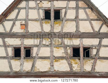 detail of a rundown old farmhouse in Southern Germany