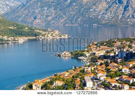 Fantastic view harbour and boats in sunny day at Kotor bay (Boka Kotorska). Picturesque and gorgeous scene. Location famous resort Montenegro, Balkans, Europe. Beauty world. Artistic picture.