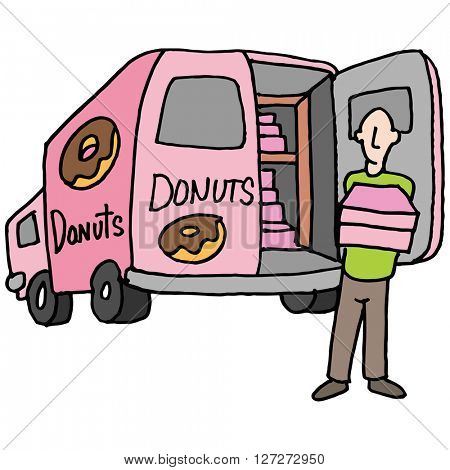 An image of a Doughnut delivery driver.