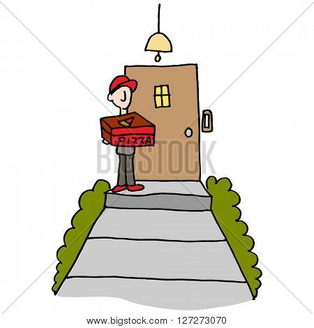 An image of a Pizza delivery man at the front door.