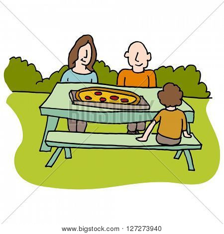 An image of a Family eating pizza at picnic table.