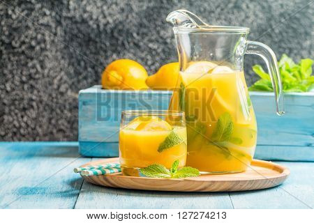 Lemonade In The Jug And Glass