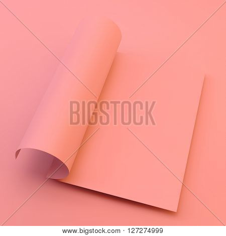 Textbook, Booklet or Notebook Mockup. Blank page template for design layout. 3d vector illustration.