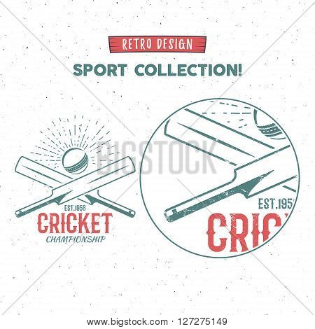 Retro cricket vector logo icon design. Vintage Cricket emblem design. Cricket badge. Sports tee design and symbols with cricket gear, equipment for web or t-shirt print.