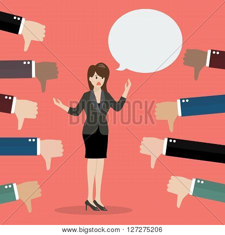 Bad speech from business woman. Vector illustration