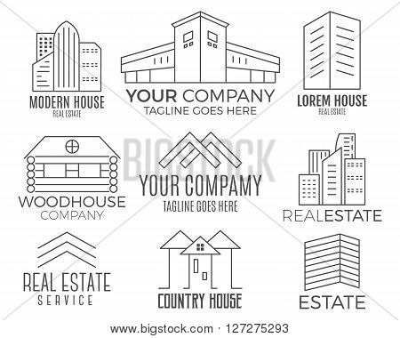 Set of vector house logo designs, real estate icon suitable for info graphics, websites and print media. Vector, flat icon, badges, labels, clip art. Lineart style. Thin line design.
