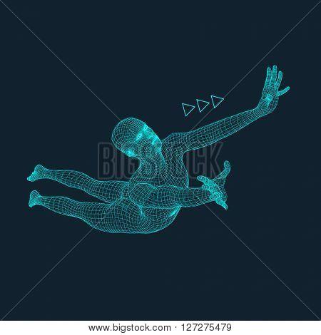 Jump Man. Polygonal Design. 3D Model of Man. Human Body Wire Model.