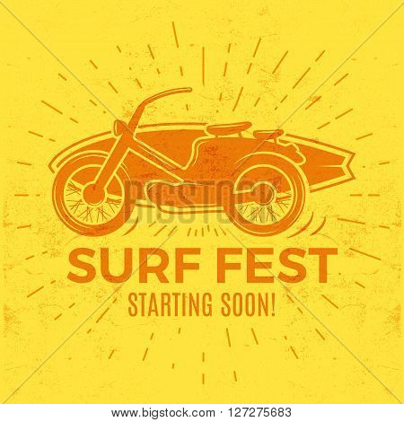 Vintage Surfing tee design. Retro Surf fest t-shirt Graphics and Emblem for web design or print. Surfer motorcycle logo design. Surf Badge. Surfboard seal, elements, symbols. Summer colors. Vector.