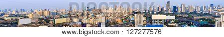 BANGKOK THAILAND - 16 APRIL 2016 - Scene of Bangkok high-rise buildings and expressway in evening