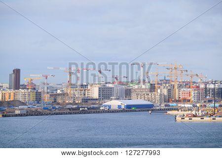 Helsinki, Finland - March, 14, 2016: cranes in Helsinki, Finland
