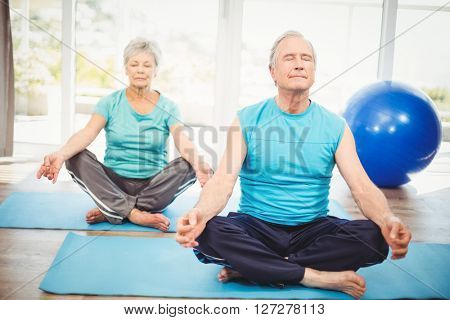 Senior couple meditating with eyes closed on exercise mat at home
