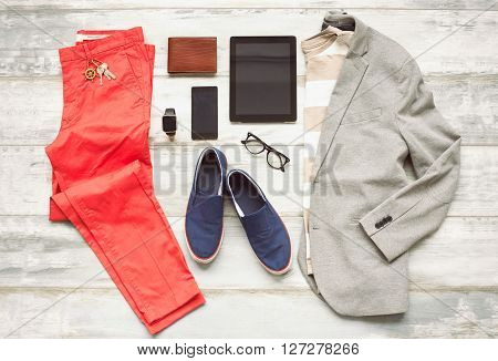 Modern set of outfit for men with new technology