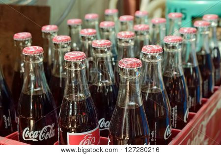 BANGKOK - APRIL 21: Bottles of Coke sale in street market  on April 21, 2016 in Bangkok, Thailand