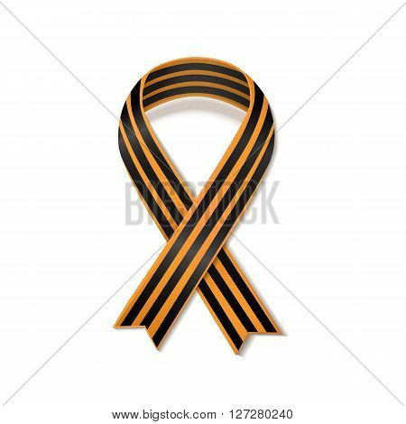 St George striped black and orange ribbon isolated on white. Vector symbol ribbon of great patriotic war Victory day. Saint George ribbon loop. Victory day concept.