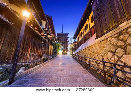 Kyoto, Japan old city at Yasaka Pagoda.