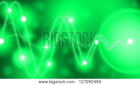 Green waveforms of different amplitude converting to a single point with glowing dots along the waves