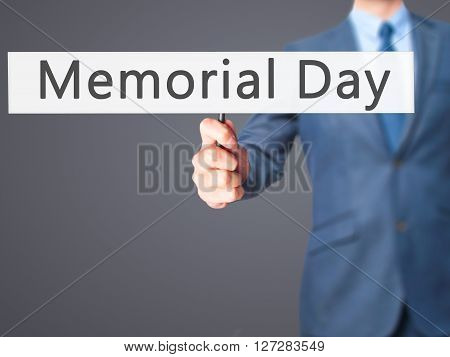Memorial Day - Businessman Hand Holding Sign
