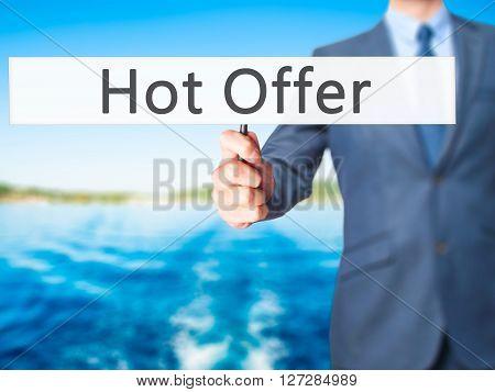 Hot Offer - Businessman Hand Holding Sign