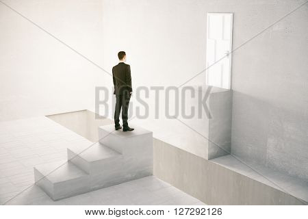 Concept of obstacle overcoming with businessman standing in front of gap between stairs and door. 3D Rendering