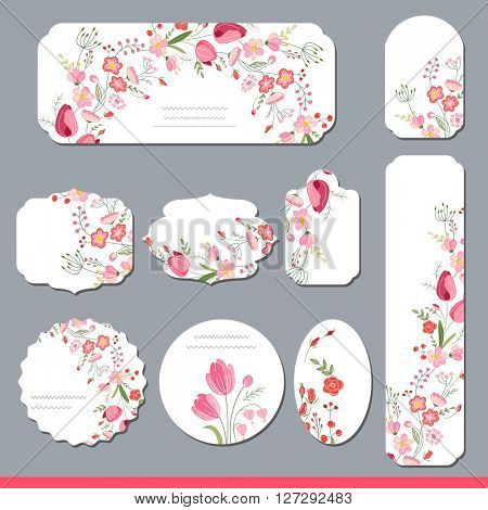 Collection with different floral paper labels for  announcements. Round,square,rectangular, different shapes. Red and pink flowers. Tulips and roses