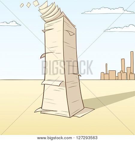 Stack of paper flying away on desert landscape background. Vector illustration.