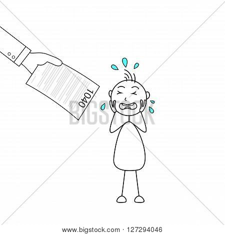 Illustration of a stick figure crying and a hand holding tax form