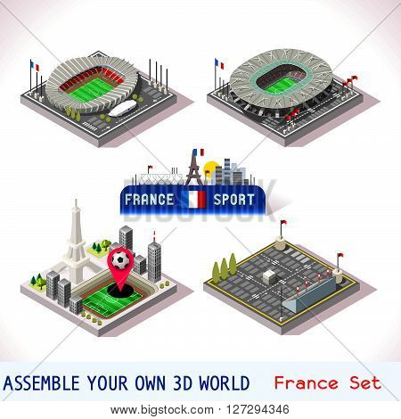 EURO 2016 France Stadium Football Icons. Paris Parc des Princes Final Saint Denis Stade de France. Flat 3D City Map Isometric Infographic Elements Game Icon. JPG. JPEG. Picture. Image. Graphic. Art. Illustration. Drawing. Object. Vector. EPS. AI.