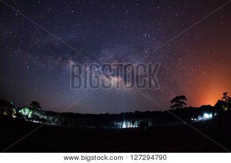 Milky Way at Phu Hin Rong Kla National ParkPhitsanulok ThailandLong exposure photograph with grain ? poster