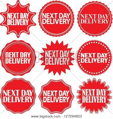 Next Day Delivery Signs Set, Next Day Delivery Sticker Set,  Vector Illustration