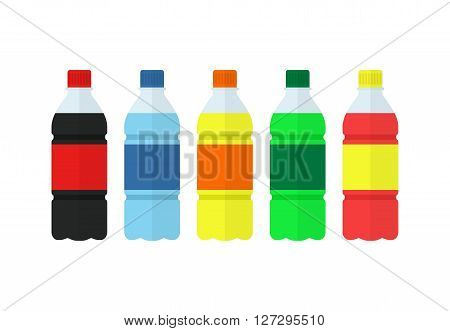 Soda, water and juice or tea bottles. Set of bottles icons. Nature drinks in flat style isolated on white background. Soda vector illustration