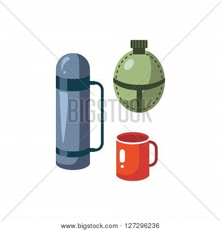Thermos, Mug And Flask Cartoon Simple Style Colorful Isolated Flat Vector Illustration On White Background