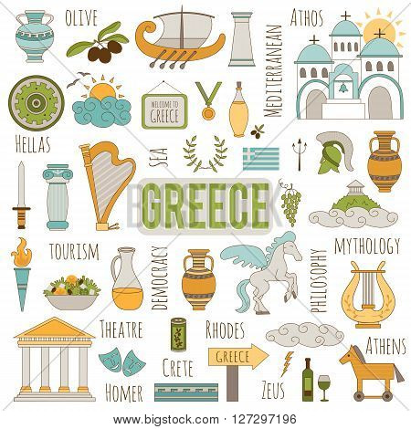 Vector set of traditional Greece elements. Travel touristic background. For greeting cards, travel brochures, tags and labels, souvenir production, invitations, calendars.