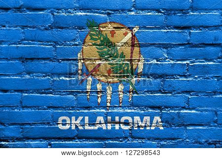 Flag Of Oklahoma State, Painted On Brick Wall