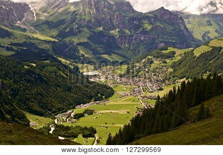 The Swiss village of Engelberg viewed from a mountaintop
