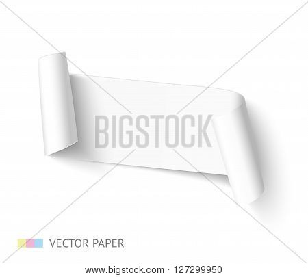 White blank paper ribbon curved banner with paper roll isolated on white background. Realistic vector paper template for promo and sale.