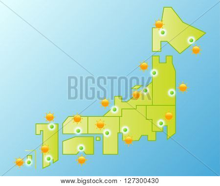 Asia Japan weather map, vector illustration background