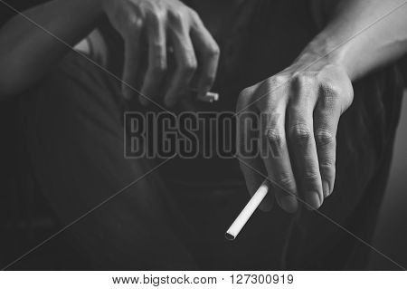 Cigarette addiction. Tobacco nicotine smoke. Unhealthy danger bad narcotic habit. White filter. Health risk cancer illness. Lifestyle concept.