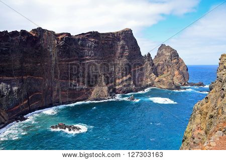 Cliffs of volcanic origin in Eastern Madeira Portugal