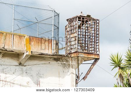 San Francisco, CA, May 13 2015: Alcatraz penitentiary exterior guard lookout