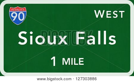 Sioux Falls Usa Interstate Highway Sign