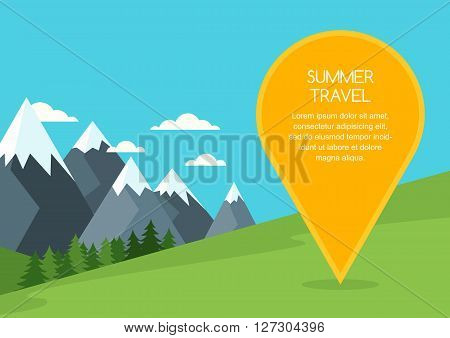 Summer or spring mountains landscape vector background. Pin mapping mark with place for text. Nature background with green meadow pine forest mountains travel marker. Travel and tourism concept.