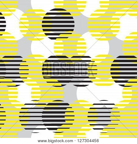 Colorful vector geometric seamless pattern. Repeating abstract circle gradation pattern in black, white, gray, yellow. Modern texture, pattern design