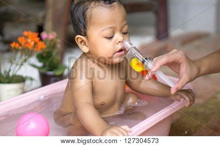 Asian Baby Saline Nasal Wash