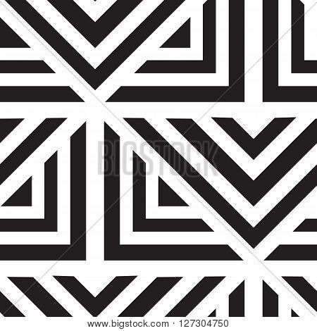 poster of Vector geometric seamless pattern. Repeating abstract lines pattern in black and white. Classical triangle flat texture, pattern design 80s style