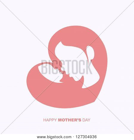 Mother holding a baby in heart shaped silhouette for Happy Mother's Day celebration.